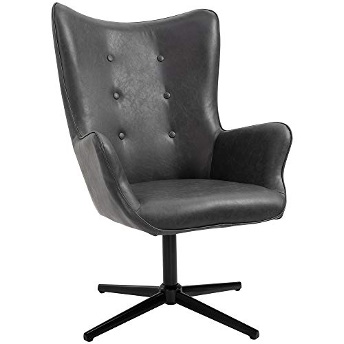 HOMCOM Retro PU Leather Swivel Accent Chair Executive Tufted w/Metal Base Padding High Back Arms Home Office Comfort Style Seating 74L x 71W x 106H - Black