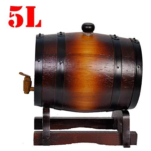 FYJTL Weinfass - Weinbereitung Holzfass Personalisiertes Holzfass Liter Whiskyfass Und Zapfhahn Massives Eichenfass Schnapsfass Quality Holzwaren Unlackiertes,Brown