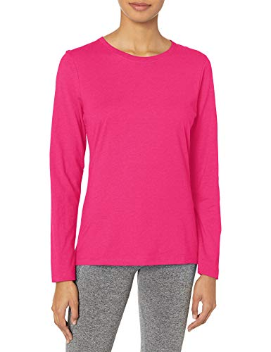 Hanes Women's Long Sleeve Tee, Sizzling Pink, Small