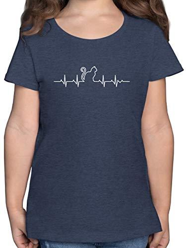 Tiermotive Kind - Herzschlag Katze - 152 (12/13 Jahre) - Dunkelblau Meliert - Kinder Shirt witzig - F131K - Mädchen Kinder T-Shirt