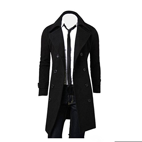Kolylong® Mantel Herren Herren Vintage Lang Wollmantel Slim Fit Trenchcoat Männer Wolljacke Windbreaker Business Parka Outwear Überzieher Strickjacke Cardigan (XL, Schwarz)