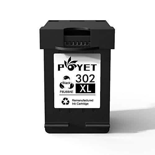 Poyet 302XL Remanufacturado Cartucho de Tinta Reemplazo para HP 302XL HP302 XL HP 302 Alto Rendimiento Cartucho de Tinta (1 Negro) F6U68AE Compatible con HP OfficeJet 3830 3831 3832 3833 3834