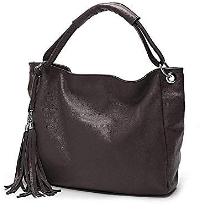 Fashion colors 100 Soft Genuine Leather Tassel Womens Handbag Ladies Shoulder Bags Messenger Satchel Crossbody Purse Coffee