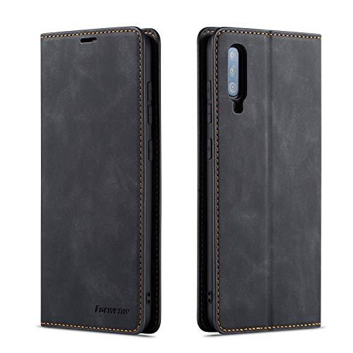 QLTYPRI Hülle für Samsung Galaxy A70, Premium Dünne Ledertasche Handyhülle mit Kartenfach Ständer Flip Schutzhülle Kompatibel mit Samsung Galaxy A70 - Schwarz