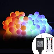 ALOVECO 34ft 100 LED Globe String Lights Plug in, 8 Dimmable Lighting Modes with Remote & Timer, UL Listed 29V Low Voltage Waterproof Decorative Lights for Bedroom, Patio, Garden, Party(Multi Color)
