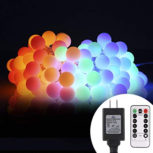 ALOVECO 44ft 100 LED Globe String Lights, 8 Dimmable Lighting Modes with Remote & Timer, UL Listed 29V Low voltage Waterproof Decorative Lights for Bedroom, Patio, Garden, Party(Multi Color)