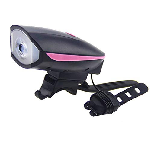 aternee Bike Light Front Bicycle Horn Set, 250 Lumen Bike Light, USB Rechargeable Bike Headlights,Waterproof Front Light for Outdoor Cycling - Pink