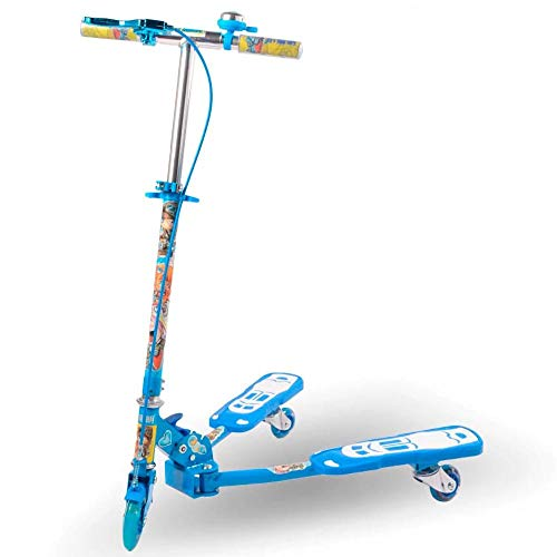 CYGJ Aleación de Aluminio Patinete Scooter Acrobacias con 3 luz LED Intermitente Ruedas de PU,Azul Plegable Tabla de Scooter para Niños y Niñas a Partir de 7 Años