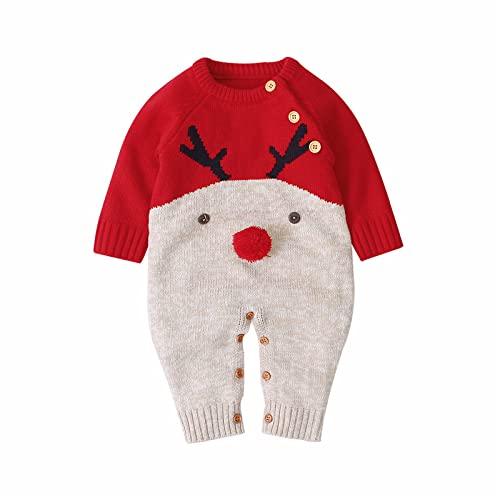 Carolilly Unisex Baby Strampler Weihnachten Elch Rentier Cartoon Strick Langarm und Rote Nase Winter (Rot B, 80)