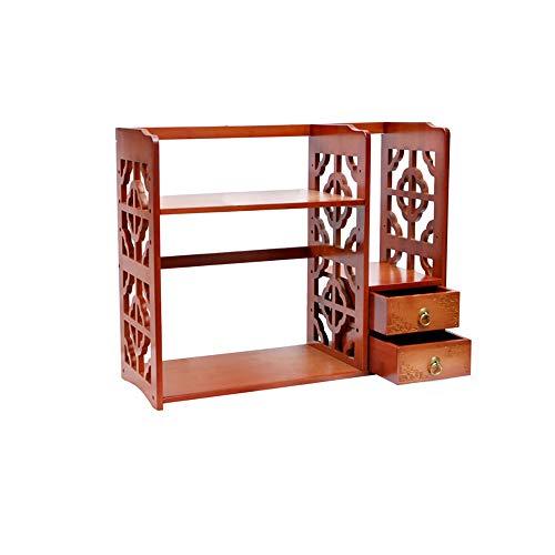 Slaapkamer plank boekenkast, bamboe houten plaat uitschuifbare desktop opslag plank met laden voor bureau interieur decoratie boek-maken voor huis en kantoor bureaublad boekenplank