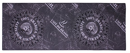 Tapis de cuisine décoratif pour cuisine et bar, env. 67 x 180 cm, noir, anthracite, café et arabia