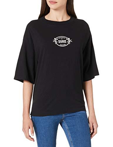 Scotch & Soda T-Shirt mit Print aus Bio-Baumwoll-Leinenmischung Camiseta, 0008 Black, M para Mujer