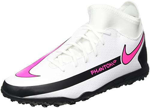 Nike Jr. Phantom GT Club Dynamic Fit TF Soccer Shoe, White/Pink Blast-Black-Black, 38.5 EU