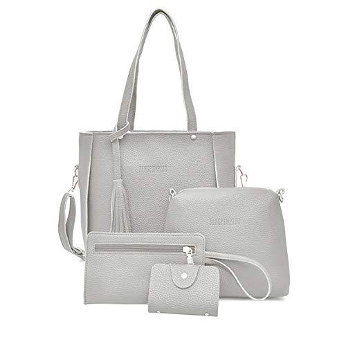4 unids/set mujer señora cuero bolso bolso bolso embrague monedero lote, gris claro, Medium
