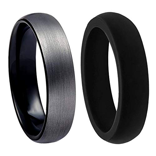 PAVOI Tungsten Rings for Men Wedding Engagement Band Brushed Black 6mm Size 9.5