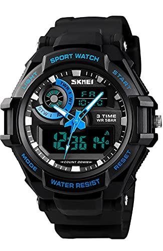 Reloj Deportivo para Hombre Reloj Digital Analógico Resistente Cronógrafo/Alarma/LED/Calendario Reloj de Pulsera para Niños