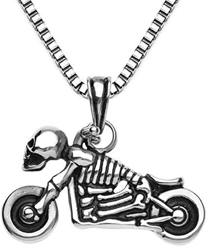 NC122 Casting Soul Chariot Calavera Colgante Retro Acero Inoxidable Motocicleta Fantasma Cabeza Collar para Hombres Gargantilla gótica Jewelry60cm
