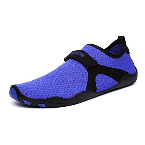 KCCCC Zapatos de Agua Acuáticos Playa Piscina de Secado rápido Antideslizante de Las Mujeres de los Zapatos Corrientes para Mujeres Hombres (Color : Blue, Tamaño : 45-46)