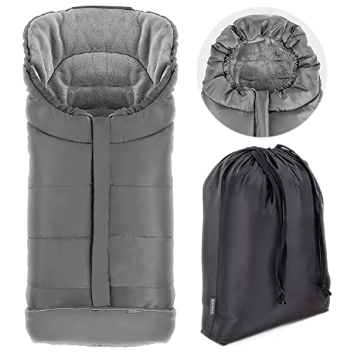 Zamboo - Saco invierno para Silla Paseo Joie - Sacos de Silla de bebe con Forro Polar térmico - Sacos de abrigo para Carritos con capucha, reflectores y bolsa - Gris