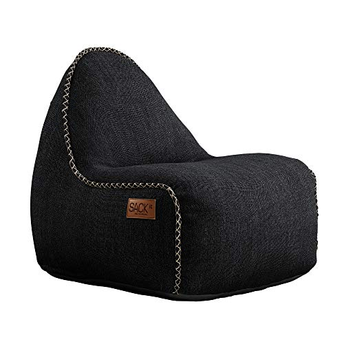 SACKit - RETROit Cobana Junior Black - Schwarz Indoor/Outdoor Sitzsack für Kinder. Sessel mit Lehne. Für das Kinderzimmer oder Gaming im Jugendzimmer - Kombinierbar mit einem Hocker