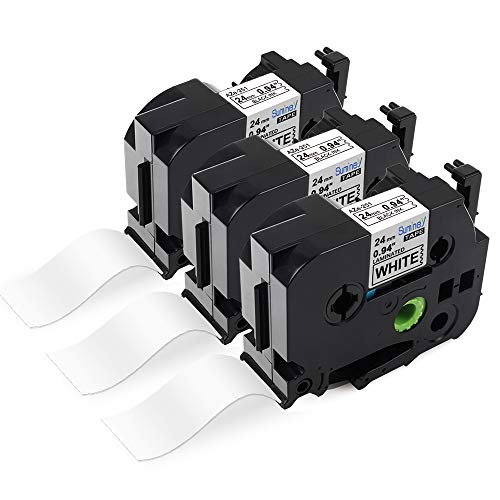 Suminey kompatible Schriftband alsErsatz für Brother P-Touch 24mm TZe-251 TZe251 TZ251 24mm 0.94 schwarz auf weiß für Brother P-Touch D600 P700 D600VP P710BT E500VP P750W 2400 2430PC 2450