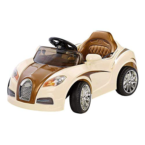Retro Auto für Kinder mit Fernbedienung, Cremefarbener Oldtimer, Elektrowagen. Elektisches Kinderfahrzeug