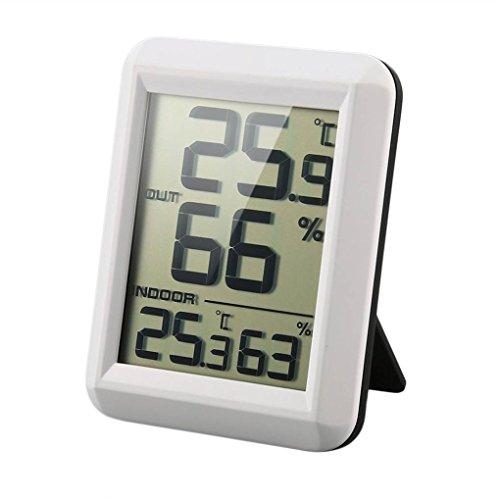 nobrand Digital LCD Funk-Thermometer Hygrometer mit Transmitter Temperatur-Feuchtigkeits-Test-Meter-Innenwetterstation,White,Show