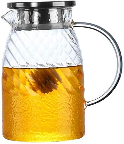 Bouilloire induction Bouilloire glacée ménage motif éblouissant verre d'eau froide cravate tapis de motif 1100ml Pot de motif verre résistant à la chaleur Restaurant Tea Kettle WHLONG
