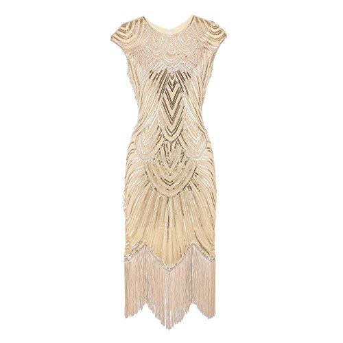 Lazzboy Damen 1920er Diamant Pailletten verschönert mit Fransen Flapper Kleid(Beige,M)
