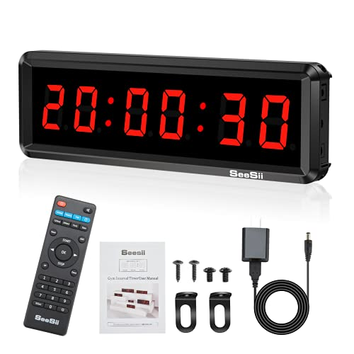 Seesii LED Gym Timer Display Second, 11''x 3.5''Ultra-Clear Interval Timer with Remote, Countdown/Up Wall Clock with Buzzer, Connectable Bank Power Fitness Timer Stopwatch for Gym Home Garage