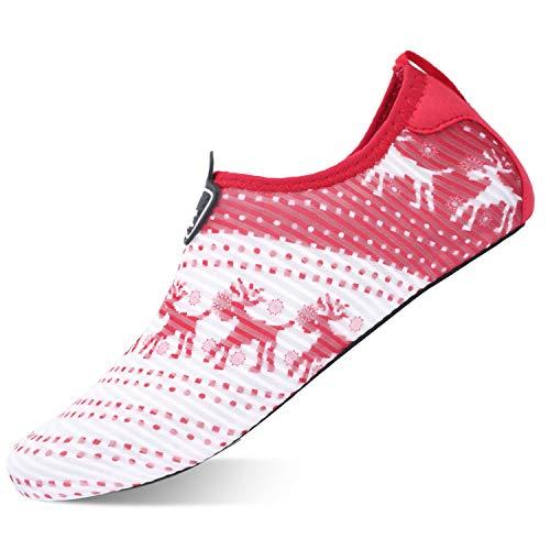 L-RUN Womens Water Shoes Aqua Socks for Pool Yoga Beach Swim Red 4-5=EU 35-36