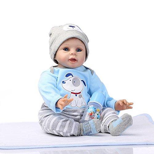 Nicery Reborn Baby Doll Puppe Weich Simulation Silikon Vinyl 22 Zoll 55 cm magnetisch Mund lebensecht lebhaft für 3 Jahre alt 3+ Boy Girl Mädchen Spielzeug Blue Dog