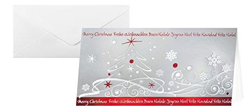 SIGEL DS393 10 Tarjetas de Navidad o tarjetas de felicidades, entregadas con sus sobres,diseño árbol de navidad, 10,5 x 21 cm, rojo y plateado