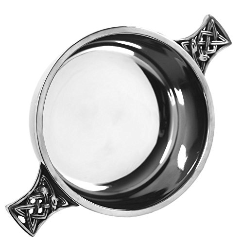 English Pewter Company Celtic Pewter Quaich Whisky Tasting Bowl Loving Cup 3.5' Diameter by Piper Pewter Scotland [PQ502]