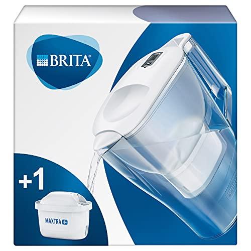 BRITAAluna blanca- Jarra de Agua Filtrada con 1 cartucho MAXTRA+, Filtro de aguaBRITA que reduce la cal y el cloro, Agua filtrada para un sabor óptimo,2.4L