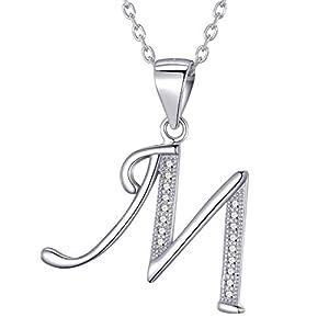 Morella Damen Halskette Silber mit Buchstabe M Anhänger 925 Silber rhodiniert mit Zirkoniasteinen weiß 45 cm