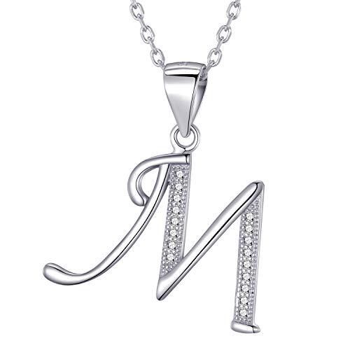 Morella collar de mujer con colgante letra M de 925 plata rodiada con piedras de circonita para damas 45cm color blanco