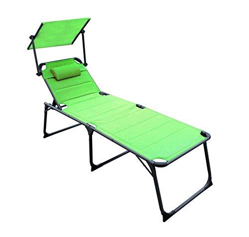 QMBasic XXL SONNENLIEGE gepolstert 48 cm KOMFORTHÖHE mit Sonnendach und Kissen Alu Gartenliege klappbar (Limegreen)