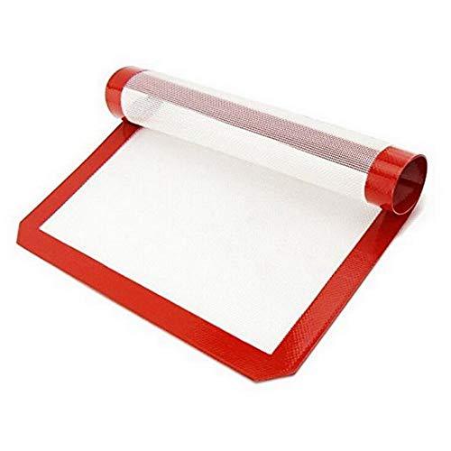 Alfombrilla de Silicona para Hornear con calefacción Alfombrilla para enrollar Masa Alfombrilla de Arcilla para pastelería Antiadherente (Corte de Esquina Blanco y Rojo 30 * 21)