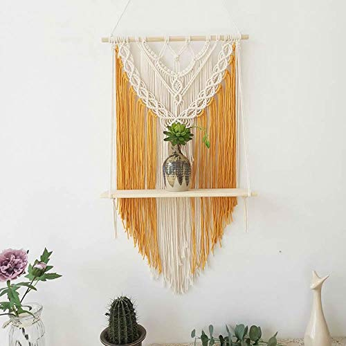 BLUETTEK Yellow Macrame Wall Hanging Shelf, Boho Decorative Floating Plants Swing Hanging Shelf Wooden Storage Hanger, Handmade Cotton Rope Woven Home Wall Decor