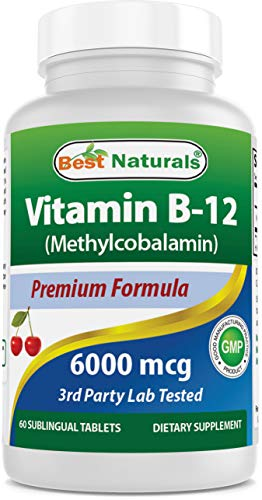 Best Naturals vitamine B12 als methylcobalamine (methyl B12), 6000 mcg tablet, 60 tellen