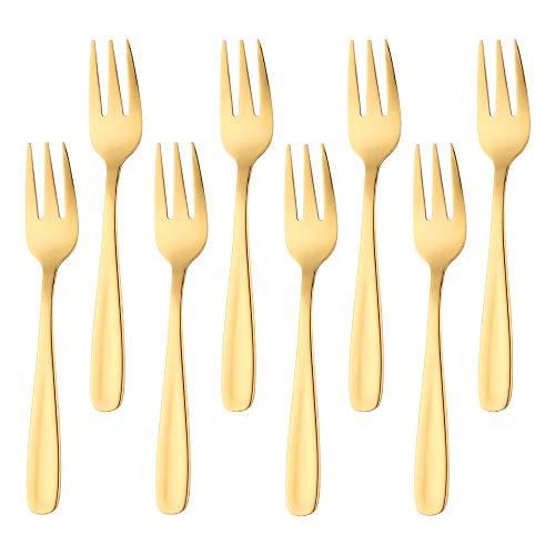 Bisda Postre de tenedor de ORO tenedores de pastel...