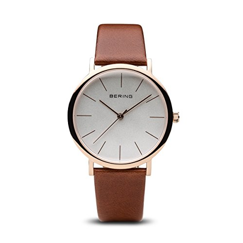 BERING Time | Women's Slim Watch 13436-564 | 36MM Case | Classic Collection | Calfskin Leather Strap | Scratch-Resistant Sapphire Crystal | Minimalistic - Designed in Denmark