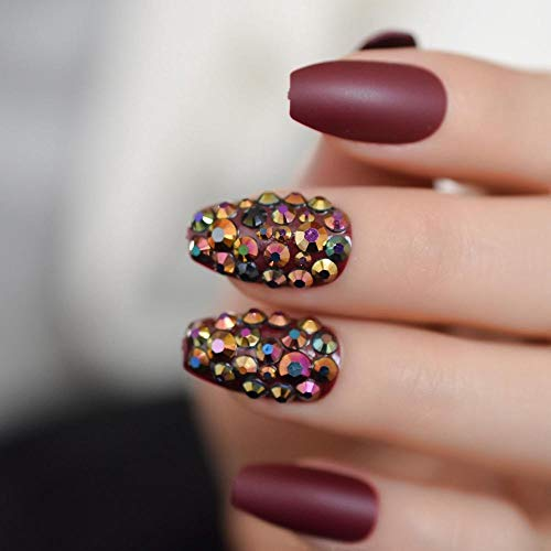CLOAAE Sexy Brown Rhinestone Coffin Nails Custom Luxury False Nails Matte Solid Color Artificial Nails