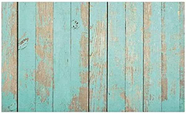 Lunarable Aqua Doormat Worn Out Wooden Planks Faded Paint Marks Vintage Grunge Hardwood Image Rustic Design Decorative Polyester Floor Mat With Non Skid Backing 30 X 18 Aqua Tan