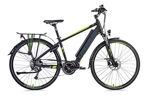 Bicicleta eléctrica Leader Fox Lucas Gent de 28 pulgadas, para hombre, trekking, pedelec, negro mate/verde