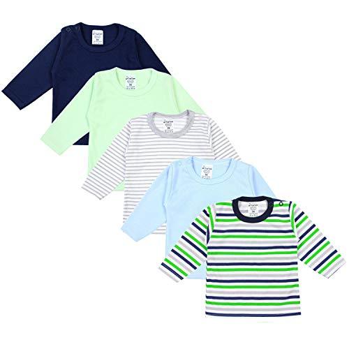 TupTam Baby Jungen Langarmshirt Gestreift 5er Set, Farbe: Mehrfarbig, Größe: 56