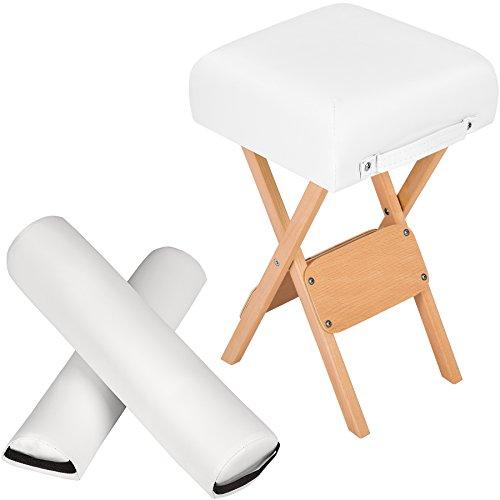 TecTake Hocker + Halbrolle + Vollrolle für Massageliege - diverse Farben - (Weiß)