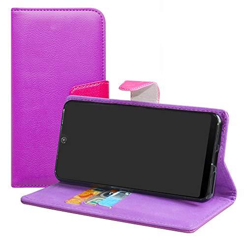 LFDZ Wiko View 2 Funda, PU Cuero Tipo Flip Case Wallet Cover Caso Funda para Wiko View 2 Smartphone(con 4 en 1 Regalo empaquetado),Púrpura