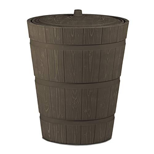 Regentonne rund Regenwassertank Rustico mit 275 Liter Volumen in der Farbe braun aus UV- und witterungsbeständigem Material. Frostsicherer Regenwassertonne bzw. Regenfass mit kindersicherem Deckel